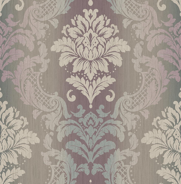 Mayflower Wallpaper Balthazar Damask Silver Bronze Purple Lilac