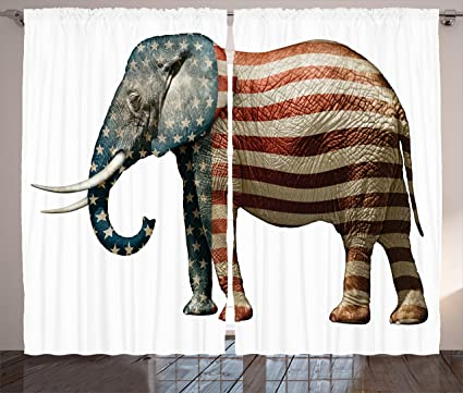 Amazon Ambesonne American Curtains Elephant Painted With Us