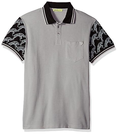 79aa5d36e4d4 Amazon.com  Versace Jeans Men s Tiger Sleeve Polo, Grey Dove, 50 ...