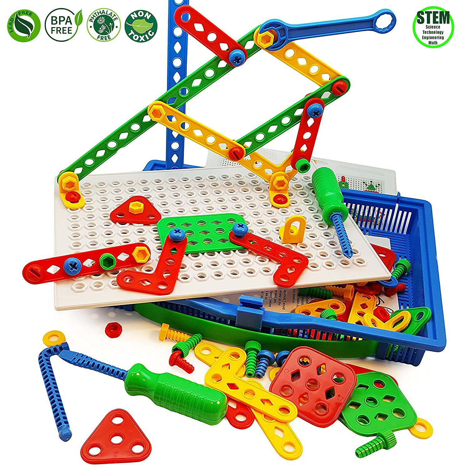 Skoolzy Educational Preschool Building Toys - 97pc Kids Construction Engineering Tool Set | Learning Tinker STEM Toys for Boys & Girls Nuts & Bolts Blocks for Kids Review