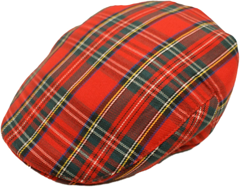 93ab356da8e Hawkins Men s Scottish Tartan Flat Cap in 2 Colours   Sizes at Amazon Men s  Clothing store