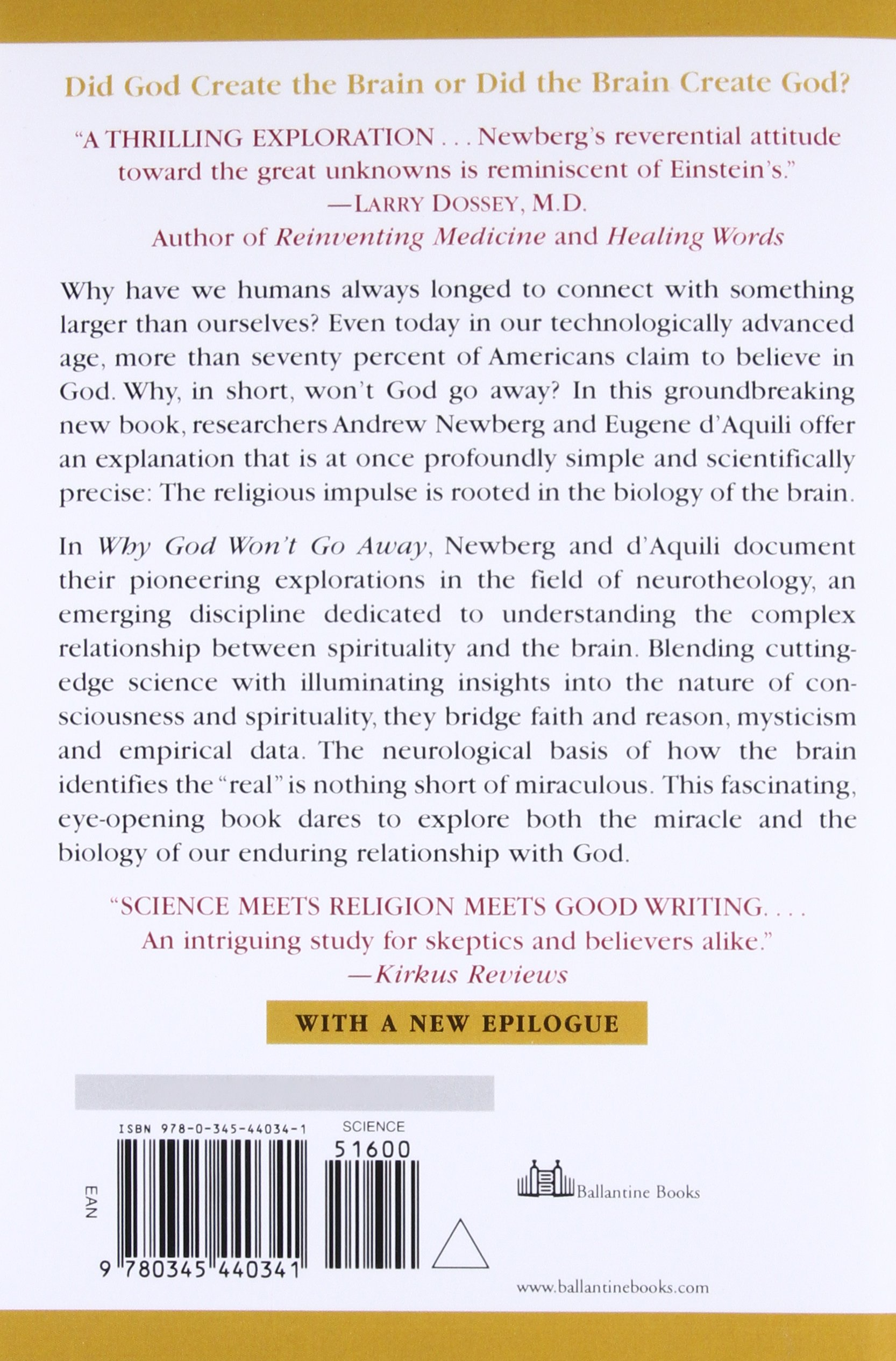 Why God Won't Go Away: Brain Science and the Biology of Belief: Andrew  Newberg, Eugene D'Aquili, Vince Rause: 9780345440341: Amazon.com: Books