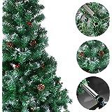 OZAVO künstlicher Weihnachtsbaum 120 / 150 / 180 / 210 cm schwer entflammbar Tannenbaum Christbaum in grün in weiße mit Schnee, mit Kiefernzapfen, inkl. Metallständer