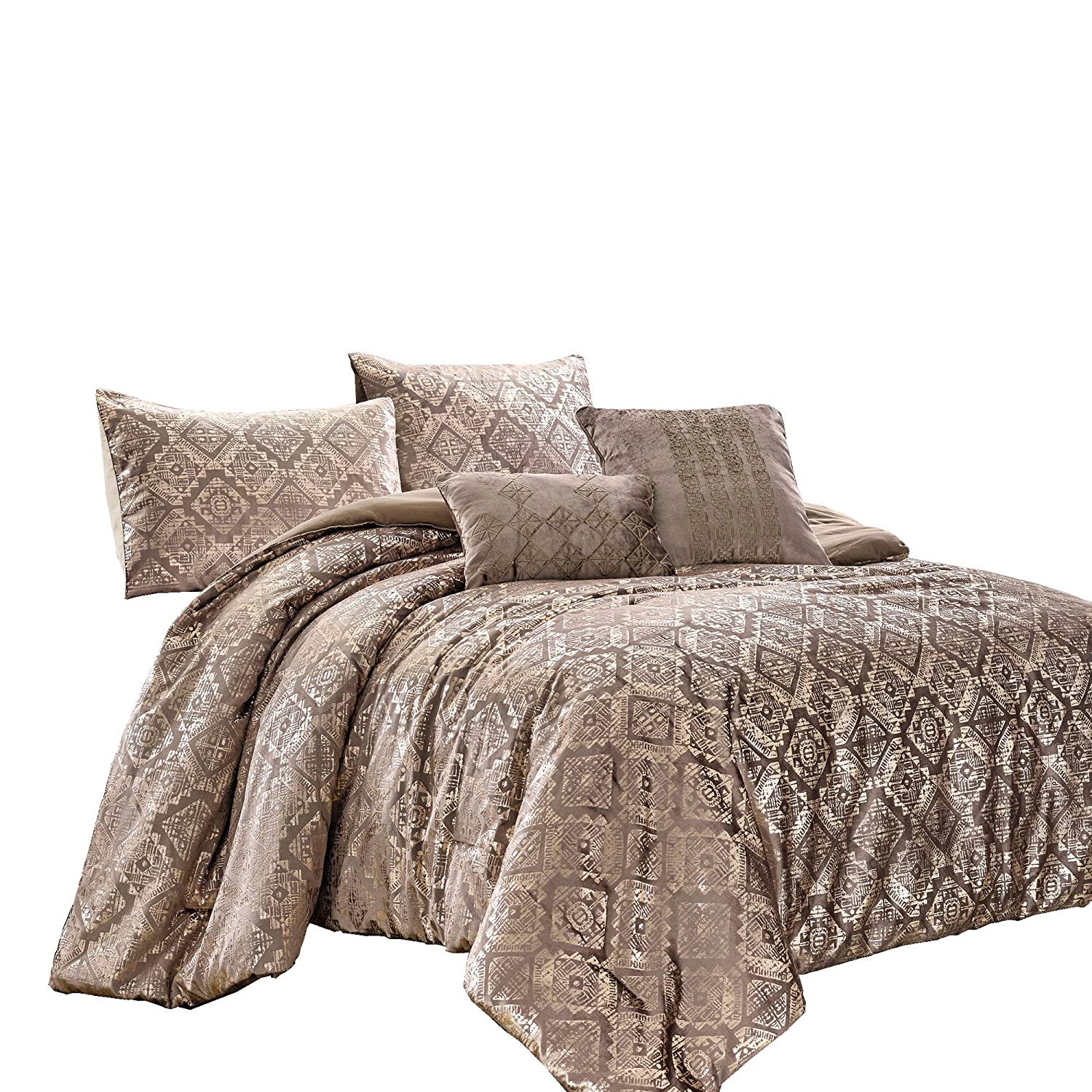 Chezmoi Collection Damon 4-Piece Comforter Set Twin Size - Metallic Glitter Champagne Gold Velvet Bedding Set with Embroidered Cushion Pillows