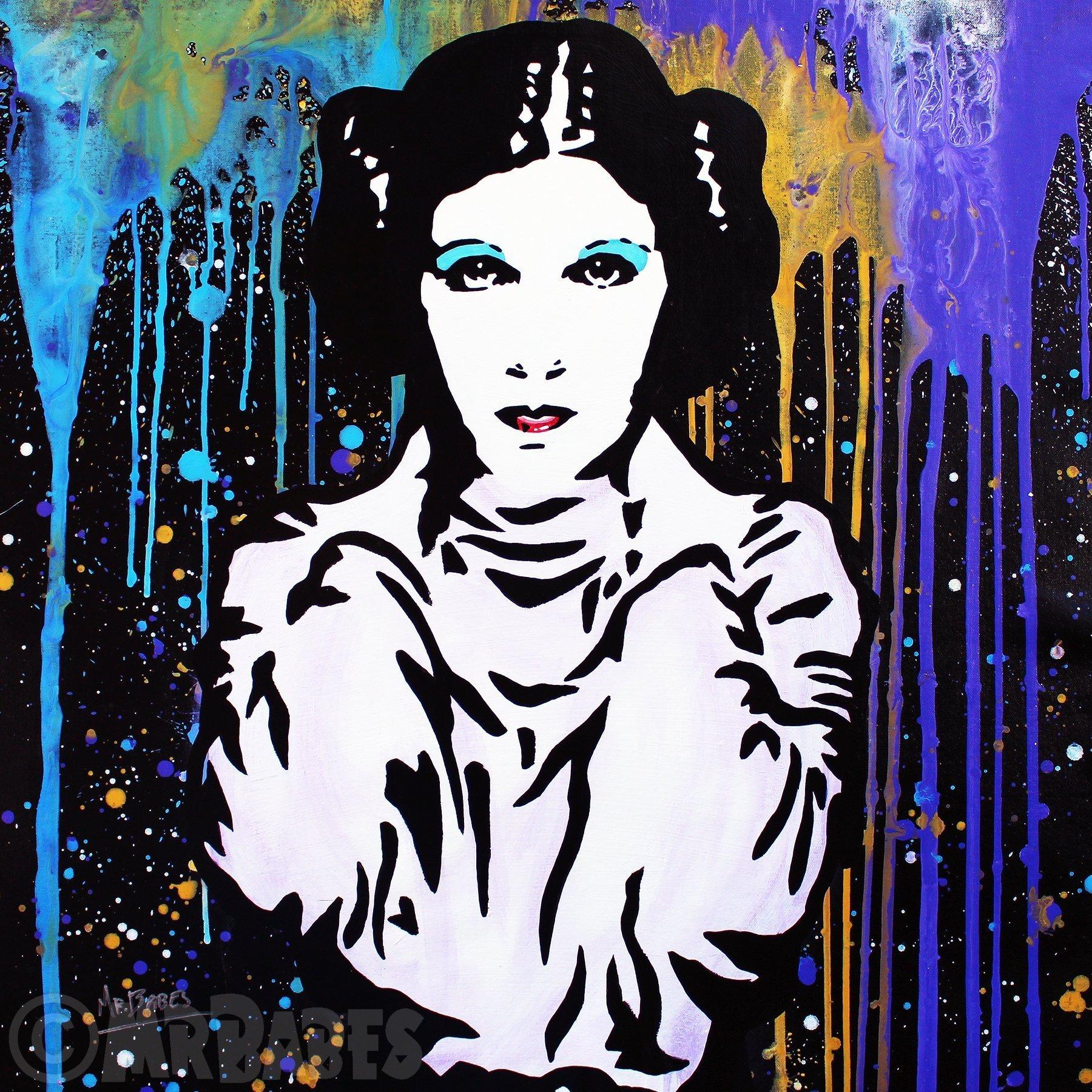 MR.BABES - ''Star Wars: Princess Leia Organa (Carrie Fisher)'' - Original Pop Art Painting - Movie Portrait