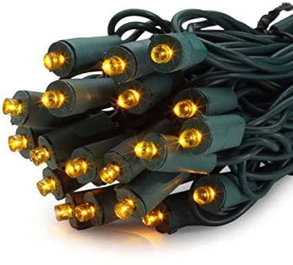 bethlehem lighting gki 50 light 5mm wide angle flexchange led amber mini christmas light set