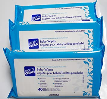 Nice N Clean Baby Wipes with Aloe, Travel Pak, Unscented, Hypoallergenic,