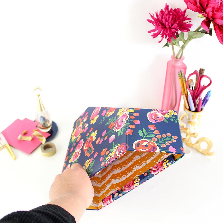 File Folder//Magazine Holder Vintage Floral bloom daily planners Collapsible Desk Organizer