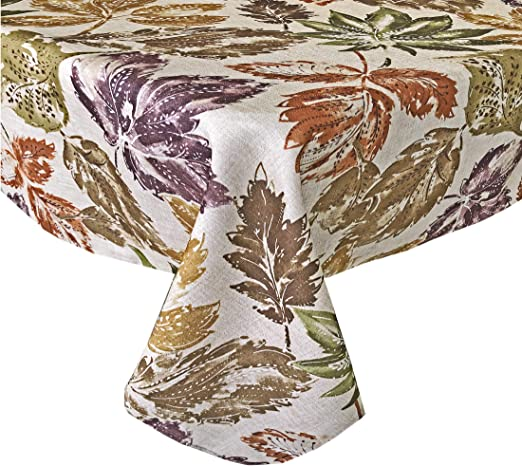 Harvest Autumn Leaves Vinyl Fall Tablecloth Thanksgiving Table Cover Oval Oblong