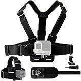 Body Mount Bundle for Gopro Hero 6, 5, Black Session, Hero 4, Session, Black, Silver, Hero+ LCD, 3+, 3, 2, 1 – Chest Harness Mount / Head Strap Mount / Wrist Mount / J-Hook / Thumbscrew / Bag