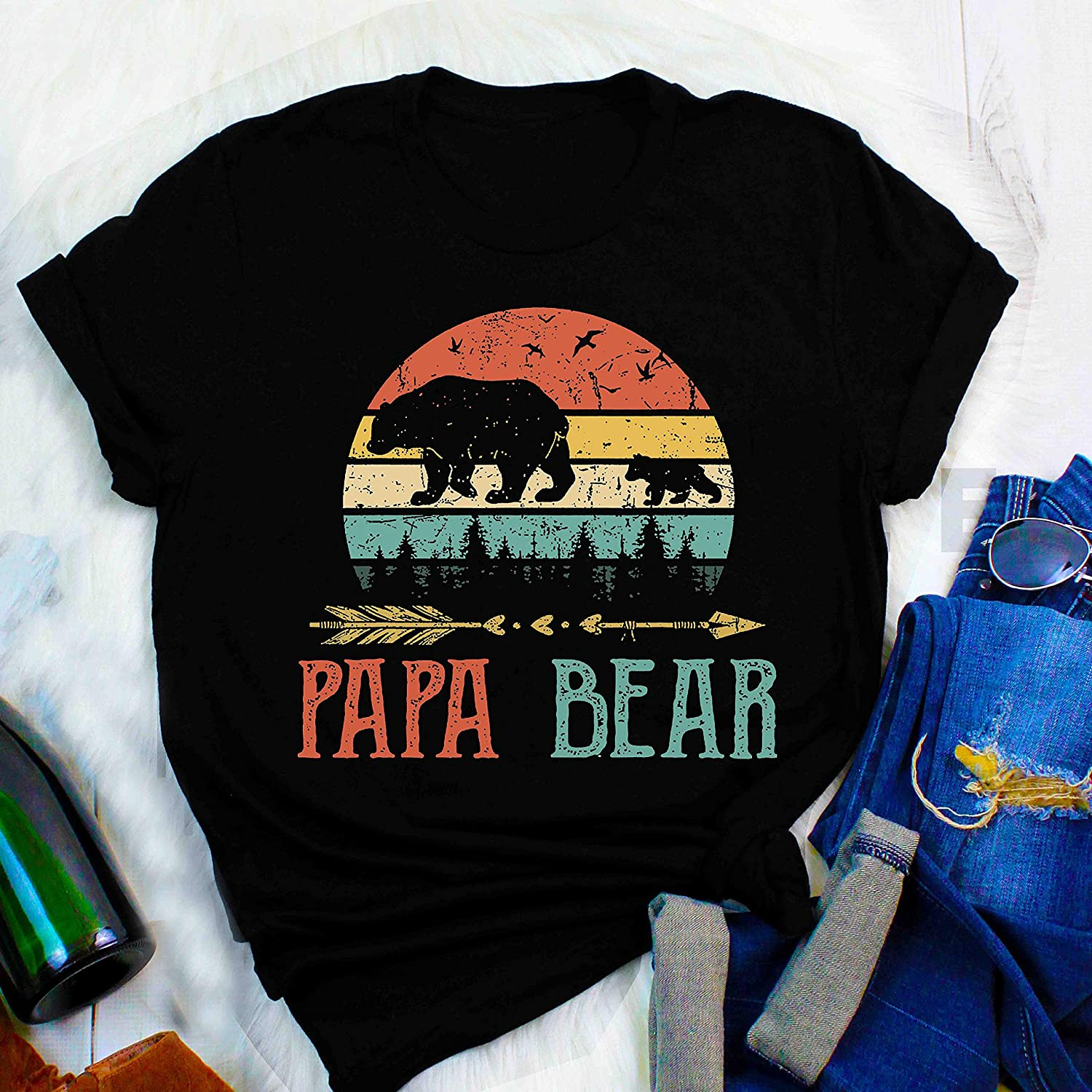 Cute Papa Bear T Shirts Men Women Fathers Day Gifts Papa Bear T Shirt Vintage Daddy Wildling Father S Day Dad Summer Best Gift Fathers Day