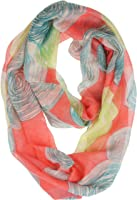 Vivian & Vincent Soft Light Weight Airy Artistic Circles Print Sheer Infinity Scarf