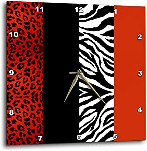3dRose DPP_35438_3 Animal Print Leopard and Zebra Wall Clock, 15 by 15-Inch, Red/Black/Orange/White