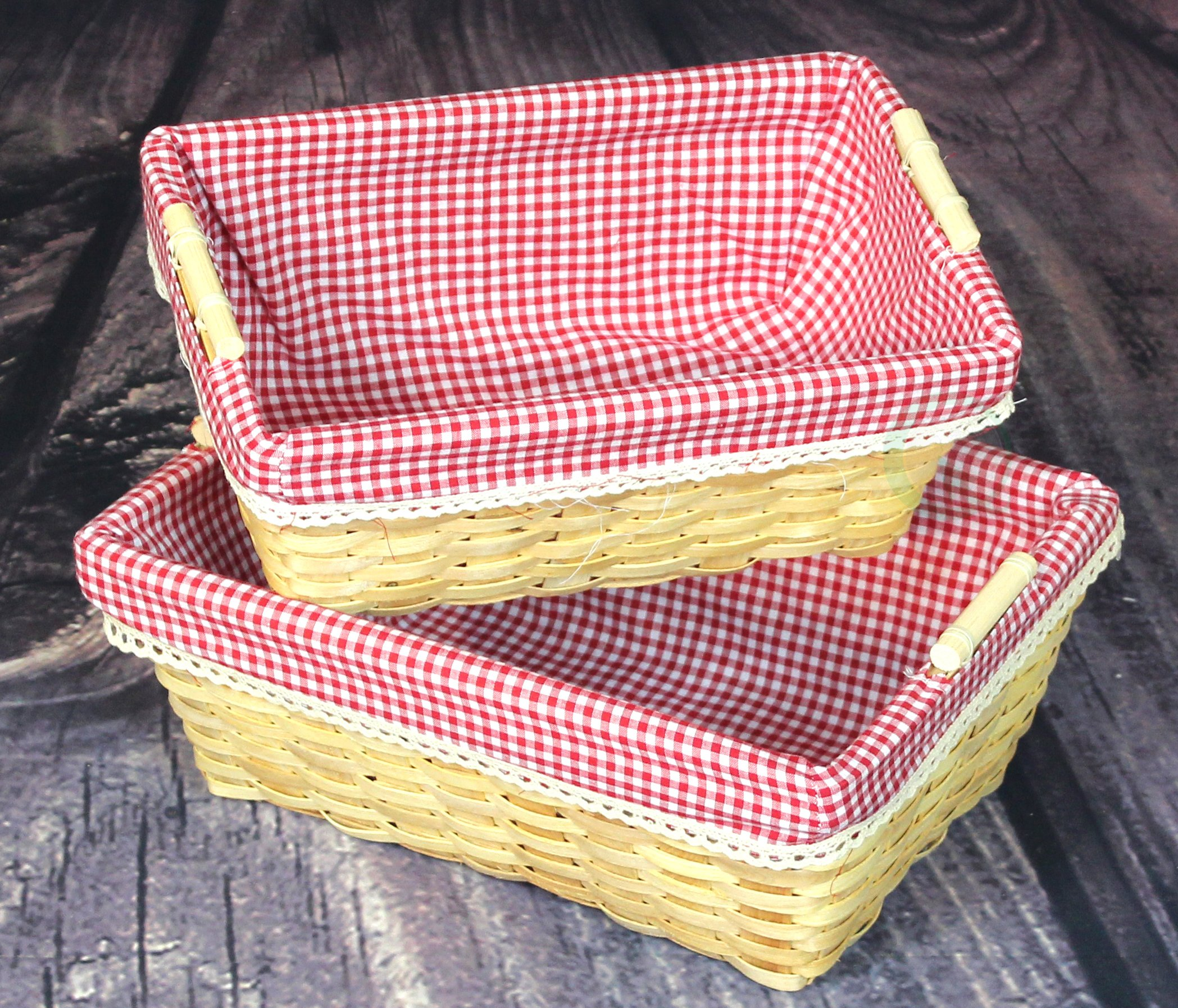 Vintiquewise(TM) Gingham Lined Baskets Set of 2 by Vintiquewise (Image #5)