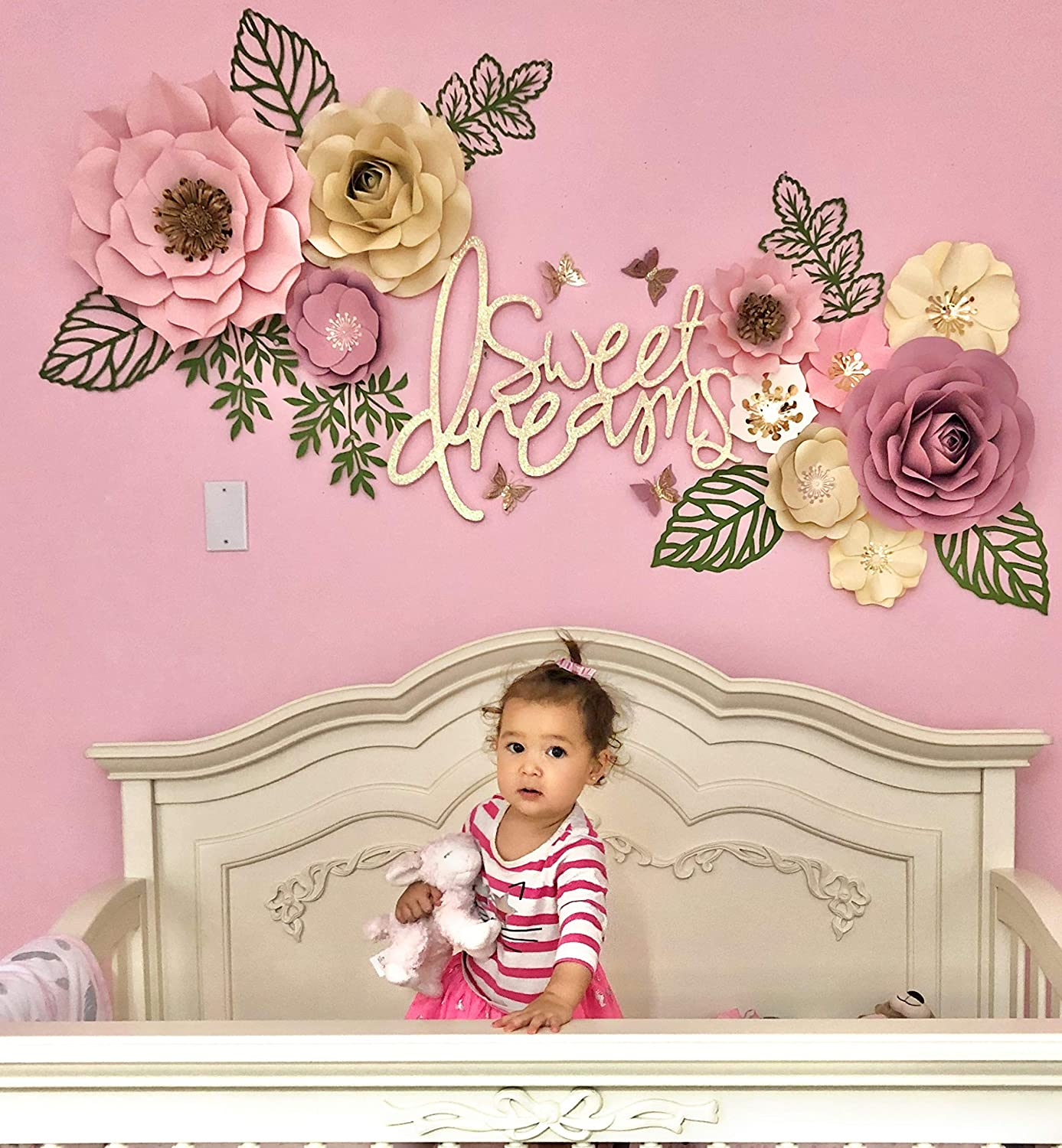 3D Flowers DIY Paper Flowers for Baby Nursery Wall Decorations set of 8