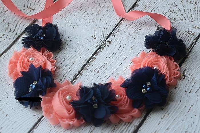 06ee07f99 Amazon.com  Navy coral Baby Headband