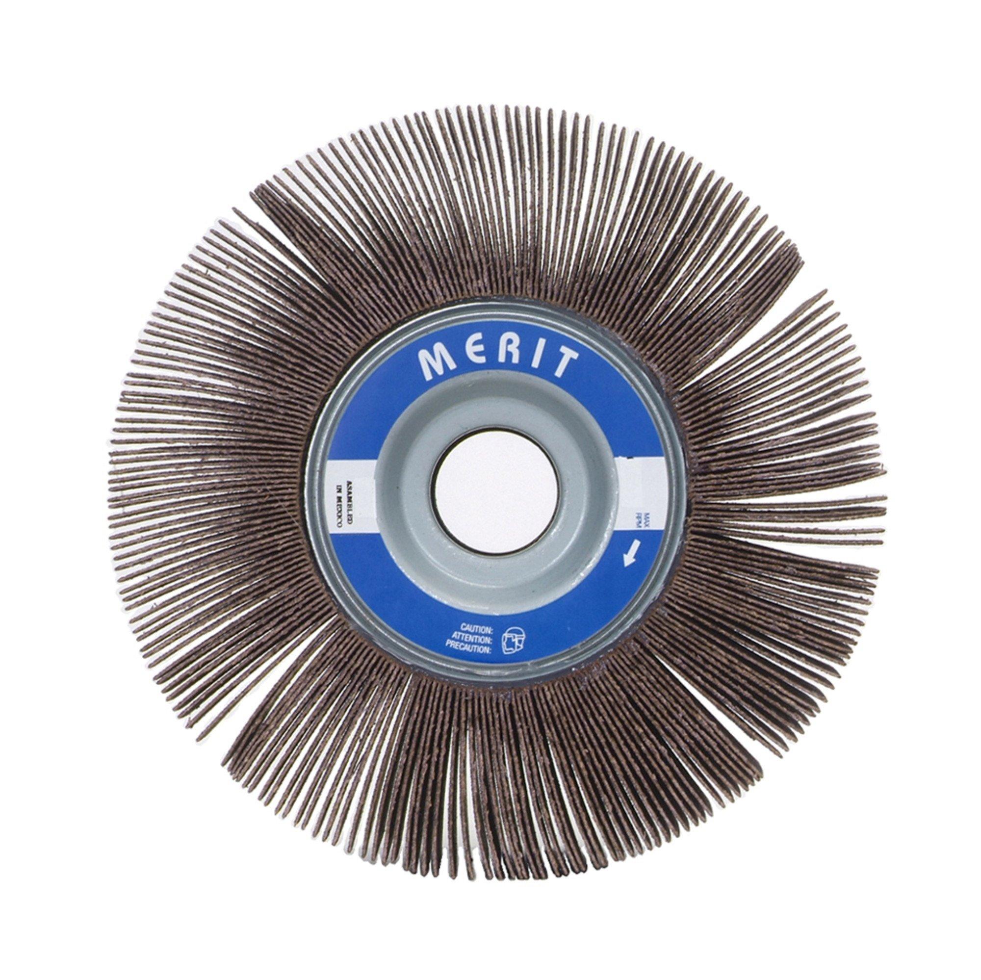 Merit Grind-O-Flex Abrasive Flap Wheel, 1'' Arbor, Round Hole, Ceramic Aluminum Oxide, 6'' Dia., 1/2'' Face Width, Grit 120, 6000 Max RPM (Pack of 1)
