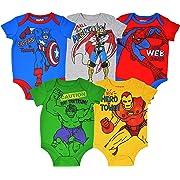 Marvel Avengers Baby Boys 5 Pack Bodysuits Hulk Spiderman Iron Man Thor & Captain America 0-3 Months