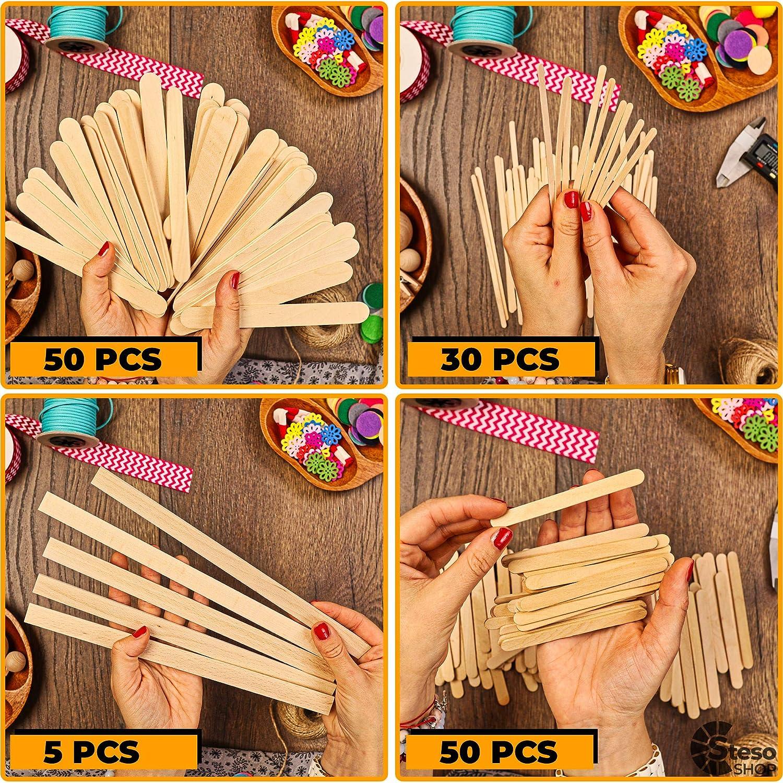 Durable Wood Wax Paint Stir Sticks StesoSHOP Popsicle Stick Jumbo Craft Sticks Wood Strips Mixed Sizes Natural Wood Ice Sticks More Fun Craft Kids Adult