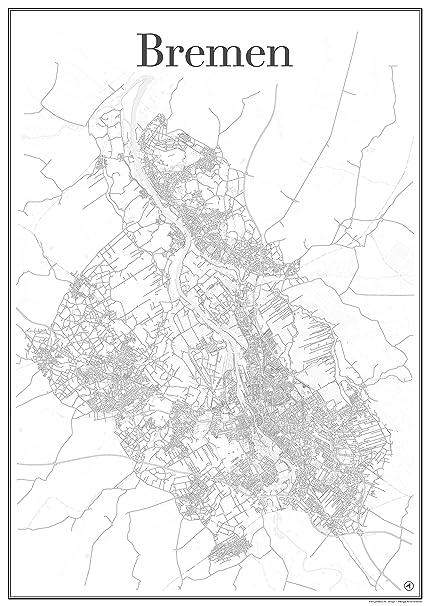 Bremen City Map Poster Art Print Road Network Showing Unique