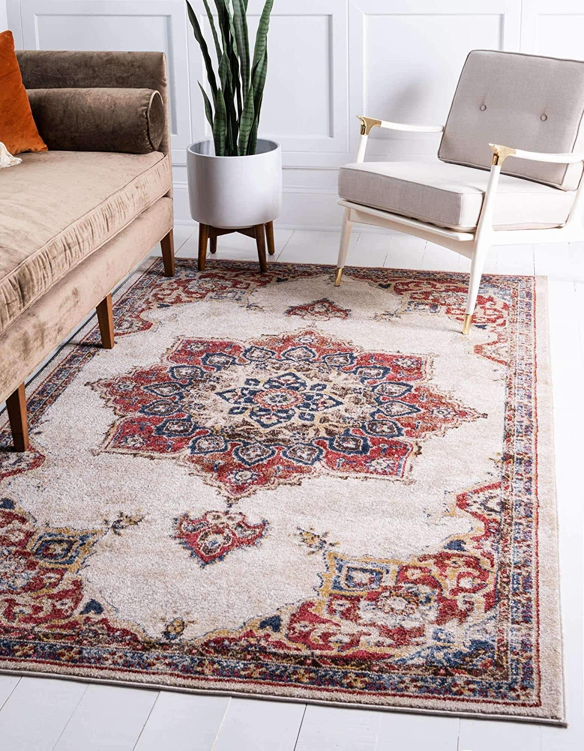 Unique Loom Utopia Collection Traditional Medallion Vintage Warm Tones Cream Area Rug (8' 0 x 10' 0)