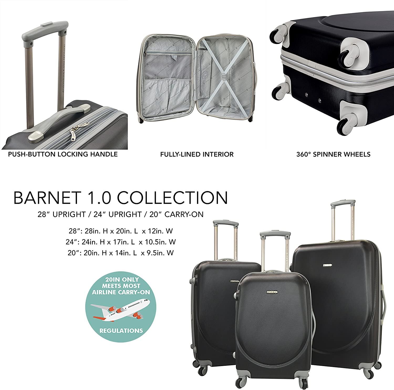TPRC 3 Piece Barnet Collection Hardside Expandable Spinner Luggage Set, Black Color Option