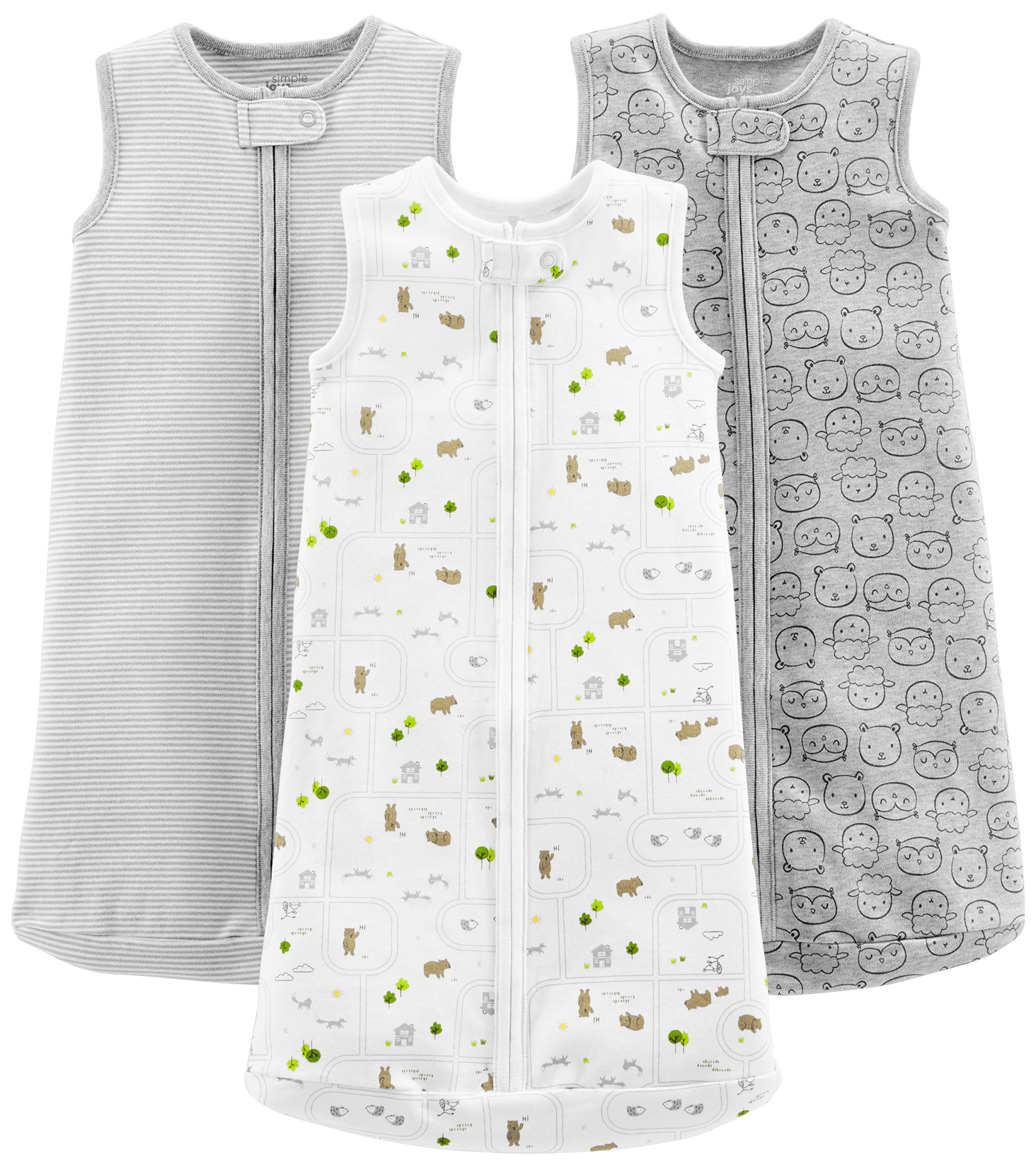 Simple Joys by Carter's Baby 3-Pack Cotton Sleeveless Sleepbag, Gray Stripes, Gray Animals Green, White, Small: 0-3 Months, up to 12.5 Lbs by Simple Joys by Carter's