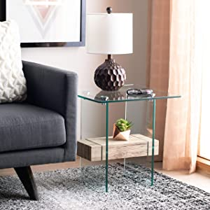 Safavieh Home Kayley Natural and Glass Accent Table