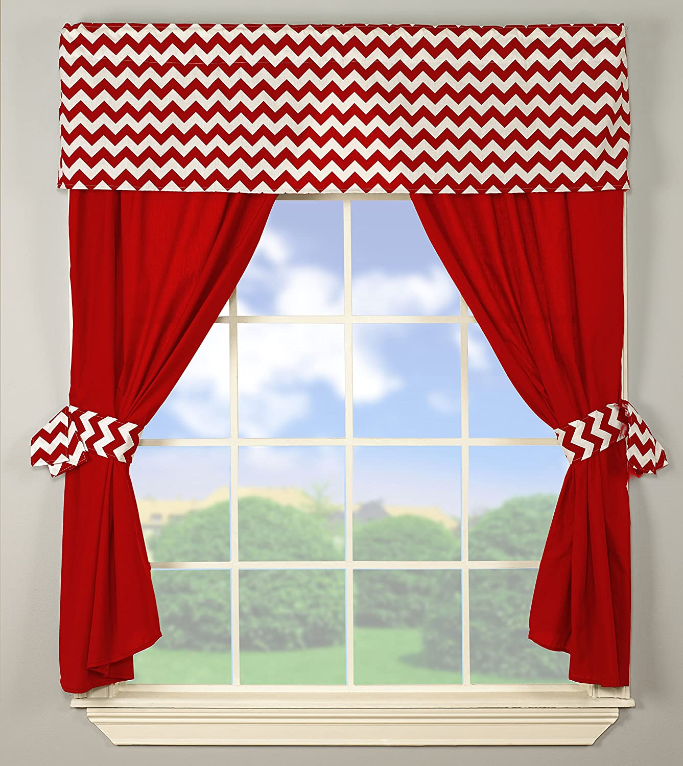 Baby Doll Bedding Chevron Window Valance and Curtain Set, Red 705valc5