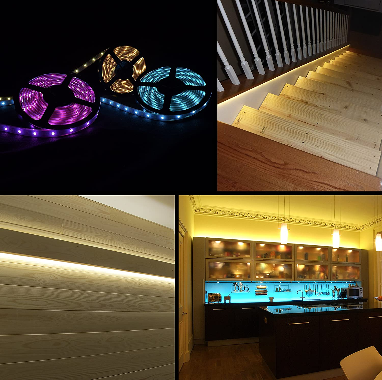 3264b9a380b4 LED Strip Lights Compatible with Alexa, Maxonar Wifi LED Light Strip Kit  with RGB Multicolor Waterproof ...