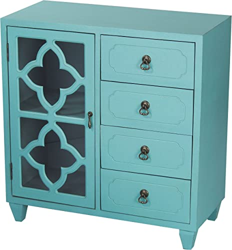 Heather Ann Creations 4 Drawer Wooden Accent Chest and Cabinet, Clover Pattern Grille with Glass Backing, 30.75 H x 29.5 W, Turquoise