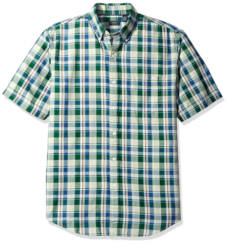 Arrow Mens Madras Short Sleeve Button Down Plaid Shirt