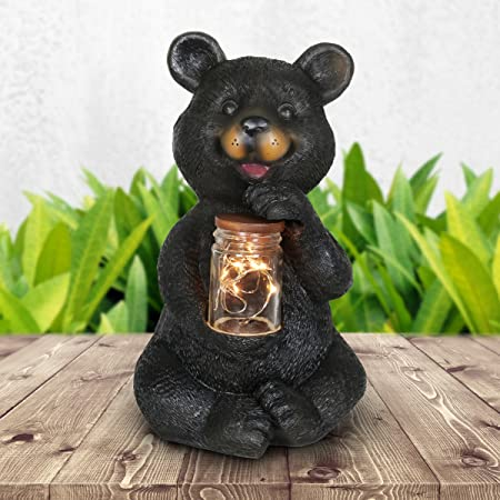 """NEW ADORABLE BLACK BEAR FISHING STATUE FIGURE DECORATION WILDLIFE COLLECTIBLE 5/"""""""
