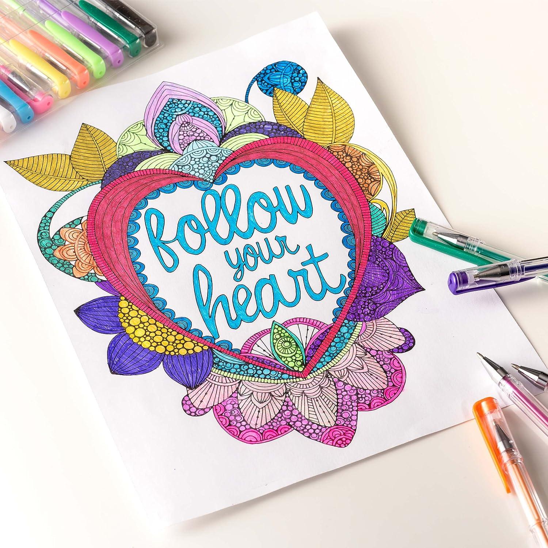 Amazon.com: Positive Arts Gel Pen Set, 120-Unique Colors for Drawing ...