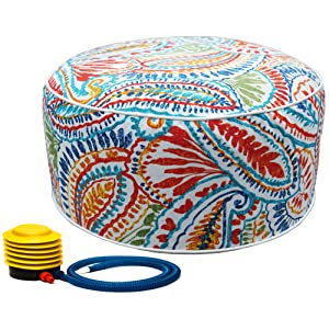 Kozyard Inflatable Stool Ottoman Used for Indoor or Outdoor, Kids or Adults, Camping or Home (Exciting Pattern)