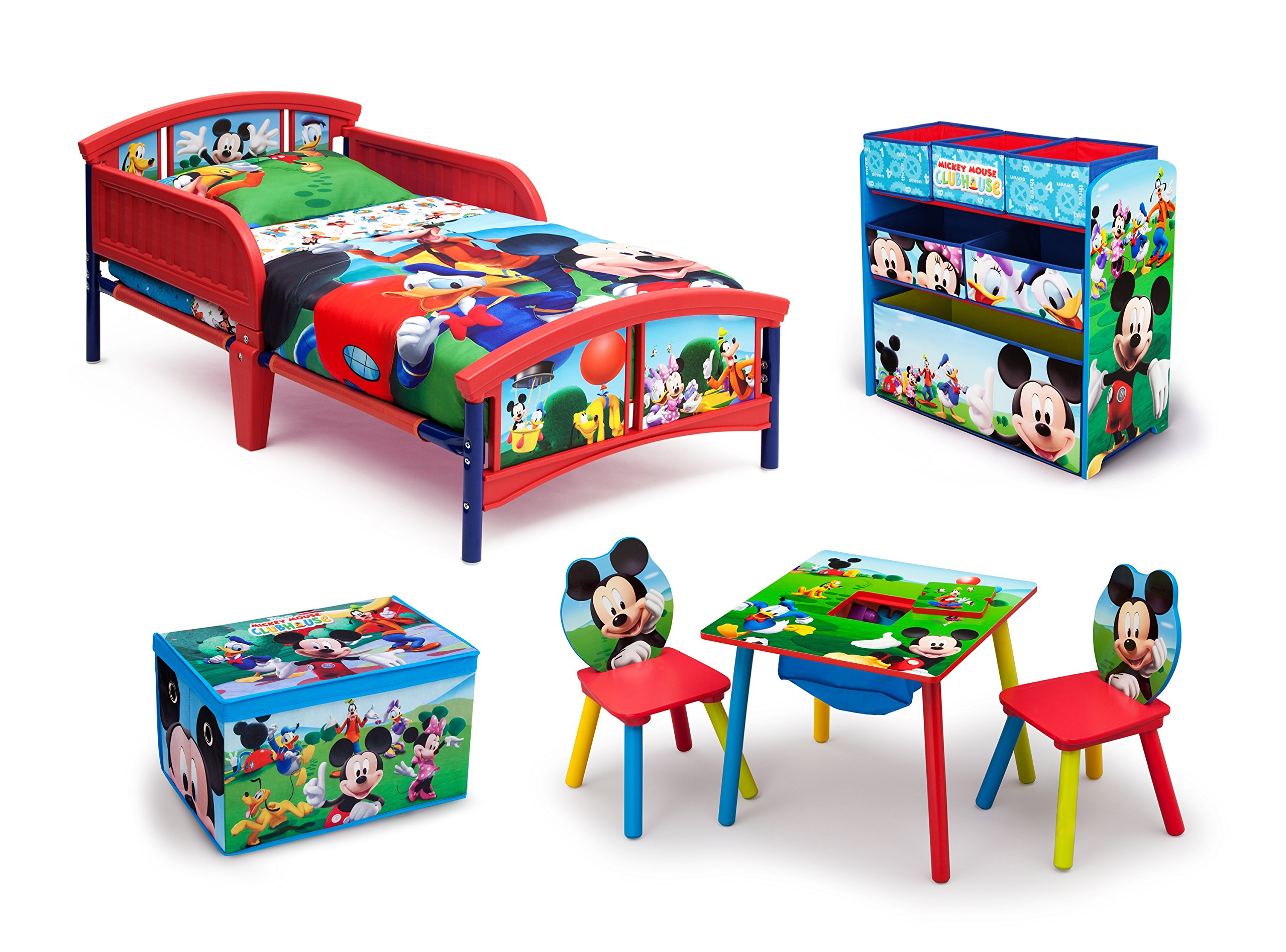 Disney Mickey Mouse Room-in-a-Box (Toddler Bed, Table & Chairs, Multi-Bin Toy Organizer, Fabric Toy Box)