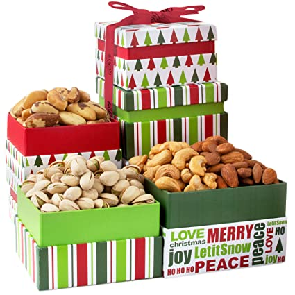Amazon Com Oh Nuts Christmas Nut Gift Towers Gourmet Holiday Assortment Tower Gifts Box For Men Women Families Prime Food Baskets Delivery Traditional Family Healthy Ideas Delivered By Tomorrow Gourmet Snacks