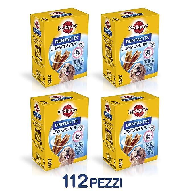 Pedigree Hundesnacks Hundeleckerli Dentastix Maxi Tägliche Zahnpflege für große Hunde >25kg, 112 Sticks (4 x 28 Sticks)