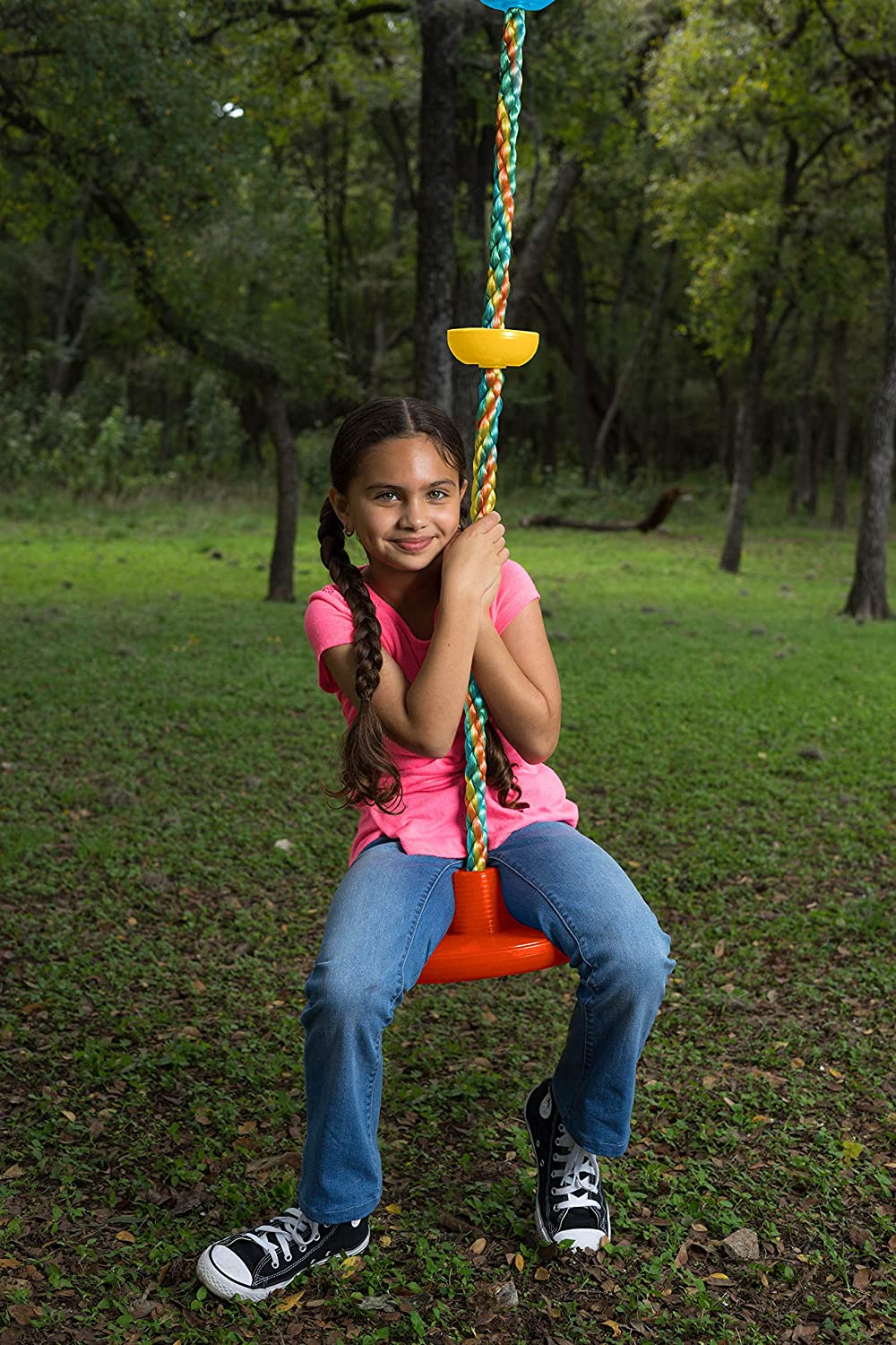 Safe Kidz Tree Swing Climbing Rope with Platforms Green Disc Great for Trees or Playsets