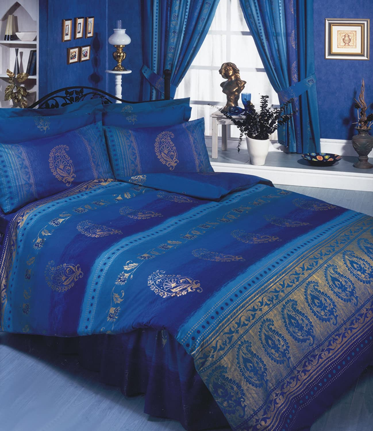 Asian Indian Kashmir Navy Blue Purple Gold King Size Bed