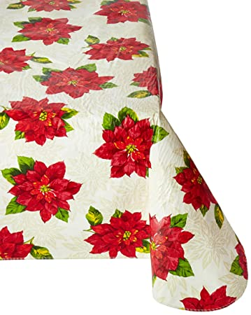 Holiday Time Poinsettia Tablecloth, 52x70 Inch Rectangle, Vinyl With Backing