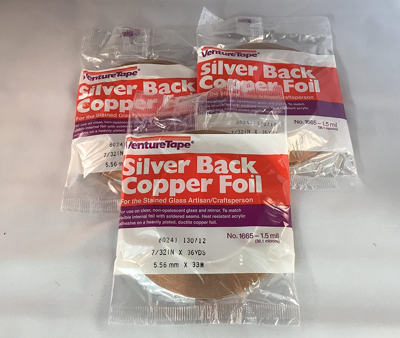 black back, copper back, silver back 5 rolls stained glass 7//32/' copper foil