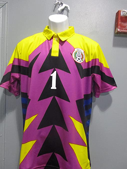 0672cc25b55 Jorge Campos Jersey Green/Pink/Yellow Manga 3/4 seleccion Mexicana Mexico (