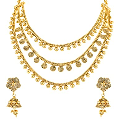 Buy Meenaz Traditional One Gram Gold Forming Pearl Choker Golden