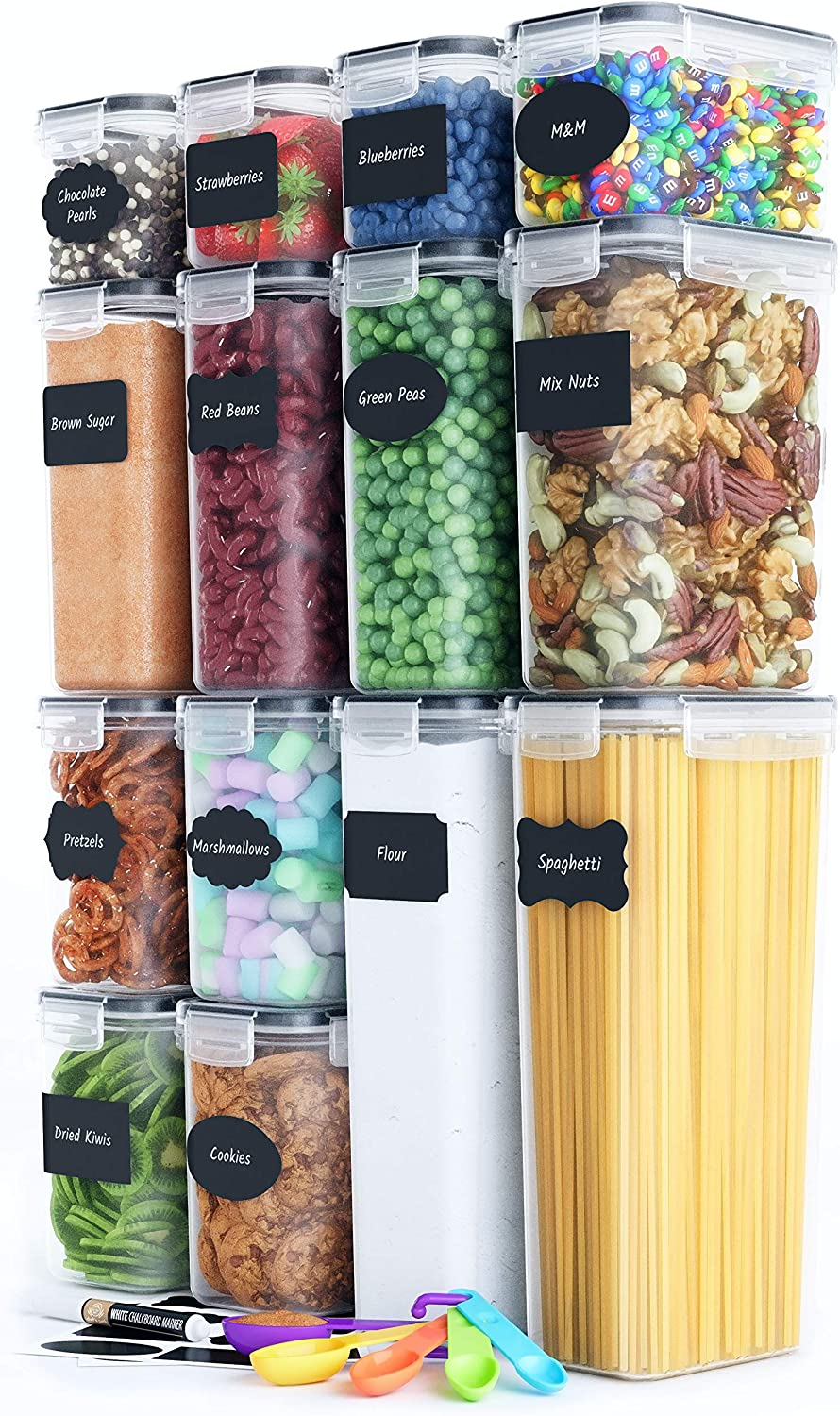 Chef's Path Airtight Food Storage Container Set - 14 PC - Kitchen & Pantry Organization - BPA-Free - Plastic Canisters with Durable Lids Ideal for Cereal, Flour & Sugar - Labels, Marker & Spoon Set -