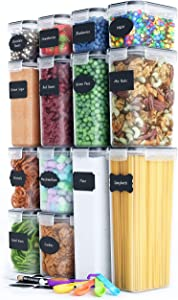 Chef's Path Airtight Food Storage Container Set - 14 PC - Kitchen & Pantry Organization - BPA-Free - Plastic Canisters with Durable Lids Ideal for Flour, Sugar & Much More - Labels, Marker & Spoon Set