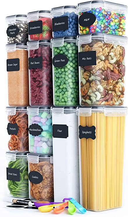 Airtight Food Storage Set - 14 PC - BPA-Free - Plastic Canisters with Durable Lids, Labels, Marker & Spoon Set