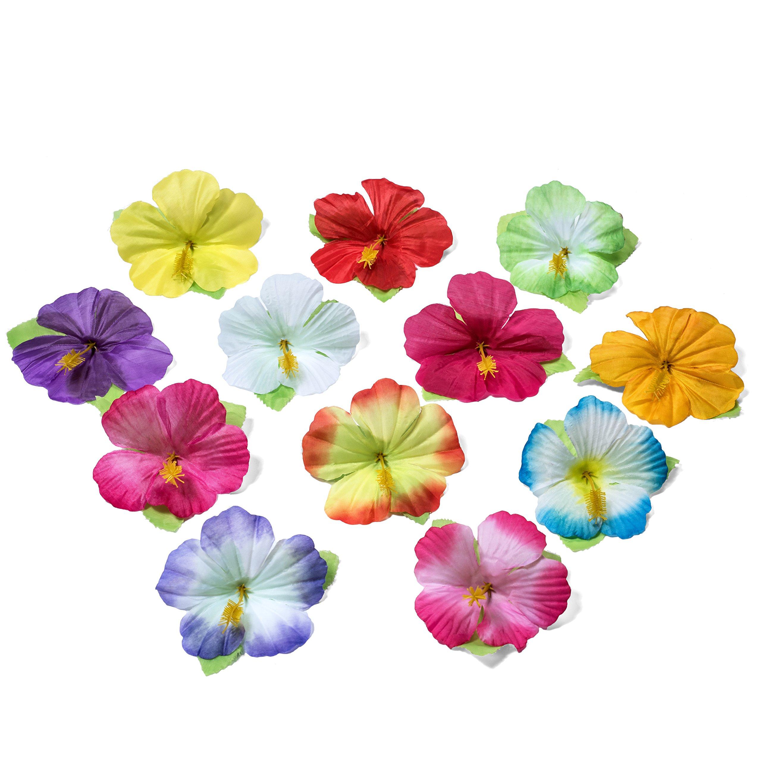 Hawaiian Luau Grass Table Skirt: BONUS 12 Hibiscus Flowers | Includes Adhesive | Perfect Beach, Tiki, Tropical, Island, Party, Luau Decoration 9ft by Luau Essentials (Image #2)