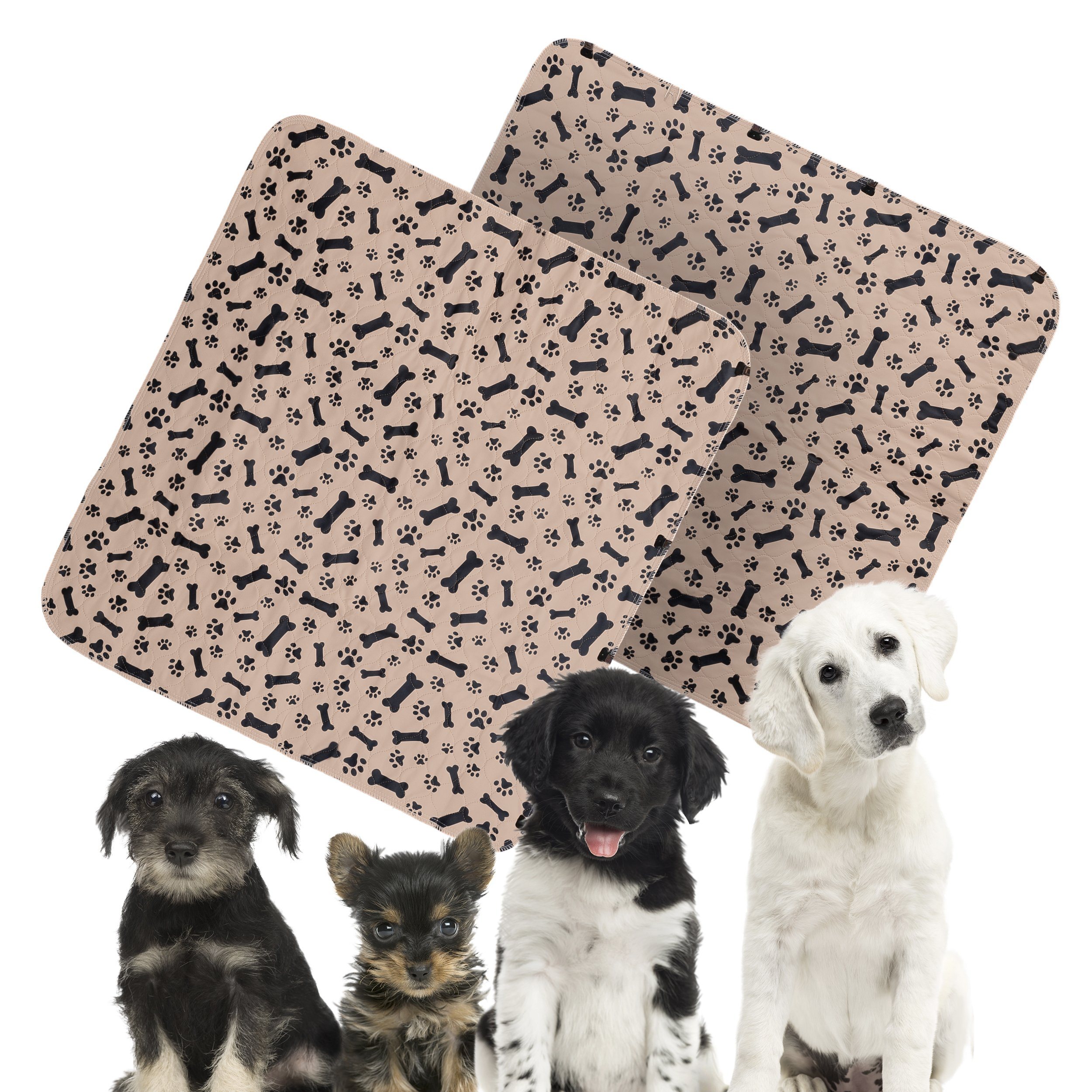 """WILDTRAILZ Dog/Puppy Washable Pee Pads with Triple Layer Design for Locked in Protection! – Special Set Includes Two Paw and Bone Print Large Size 31.5"""" x 35.4"""" Reusable Training Pee Pads"""