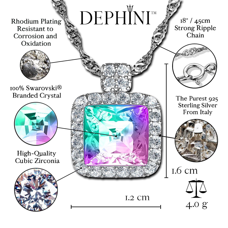 e80739992744 DEPHINI - joyeria mujer - Aurore Boreale Collar - Swarovski® cubo cristal - Colgantes  Plata De Ley 925 - Circonita cristales - arco iris collar cuadrado ...